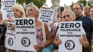 Protest in 2018 over Labour's handling of anti-Semitism