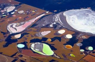 Salt pans and dams near the city of Perth, Australia