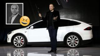 Image shows Elon Musk talking in front of a white car, top left inset image shows Yuri Milner.