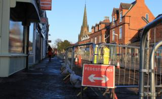 Closed road due to tram works