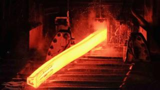 Steel production at a British Steel plant