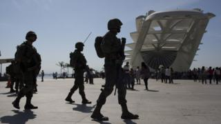 Soldiers patrol outside the Museum of Tomorrow in Rio de Janeiro, Brazil (09 July 2016)