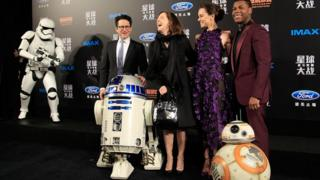 Star Wars director J.J. Abrams and producer Kathleen Kennedy with stars Daisy Ridley and John Boyega at the Shanghai premiere in December