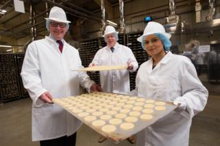 Michael Gove, Boris Johnson and Priti Patel during a visit to Farmhouse Biscuits in Nelson, Lancashire