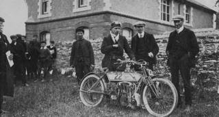 Rem Fowler with a 5 hp Peugeot-engined Norton motorcycle