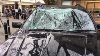Car with broken windscreen