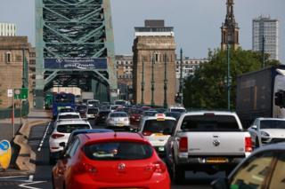 Traffic crossing the Tyne Bridge