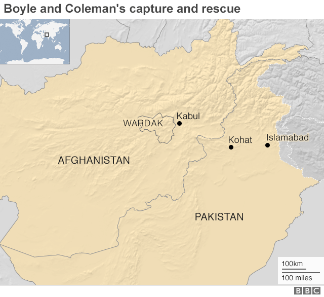 A map showing where Boyll and Coleman were captured and rescued