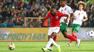 Raheem Sterling scores England's fifth of six goals against Bulgaria