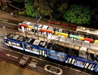 Edinburgh trams from above