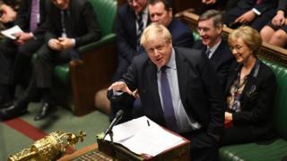 Boris Johnson speaking in Parliament