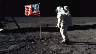 US astronaut on the moon