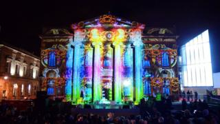 Light show on Oldham Town Hall