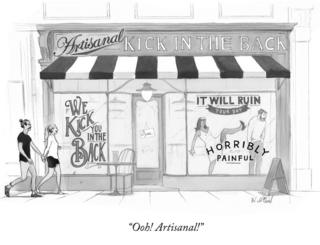 A cartoon of a shop advertising a kick in the back