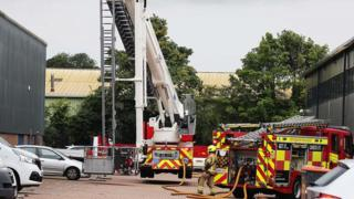 An aerial ladder platform was also used to fight the fire