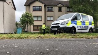 Police at the scene in Holytown