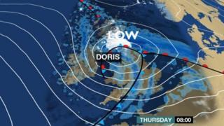 Wani hoton yanayi na BBC na hasashen guguwar Doris