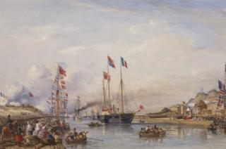 The Royal Yacht entering the harbour at Boulogne, 18 August 1855