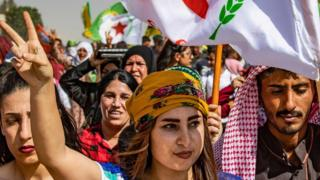 Syrian Kurds protest against Turkey in Ras al-Ain, Hassakeh province, on 6 October 2019