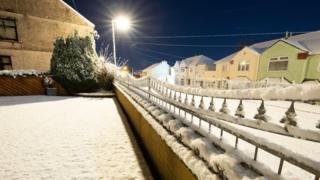 Snow covering Brynmawr, Blaenau Gwent