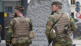 Army patrol outside EU headquarters in Brussels - 22 July