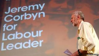 Jeremy Corbyn speaking at a campaign event in London