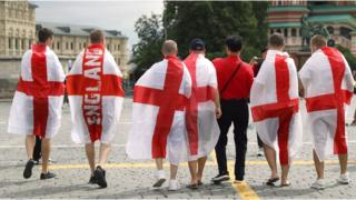 England fans in Red Square ahead of the FIFA World Cup semi final