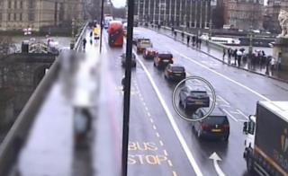 Westminster terrorist Khalid Masood driving along Westminster Bridge in a hired SUV