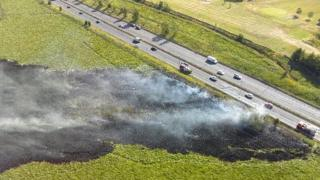 Grass fire drone footage