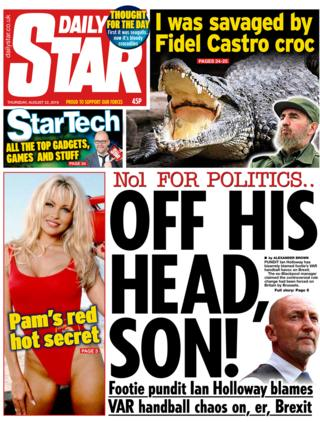 Daily Star front page 22/08/19