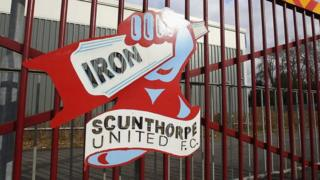 Sign on gate at Glanford Park, Scunthorpe