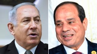 Composite image of Benjamin Netanyahu and Abdel Fattah el-Sisi