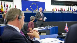 Michel Barnier speaking in the European Parliament in 2017