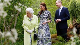 Britain's Queen Elizabeth II, The Duchess of Cambridge, and the Duke of Cambridge