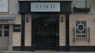 The entrance to Coach nightclub in Banbridge.