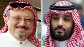 ولي العهد السعودي (يمينا)، والصحفي الراحل جمال خاشقجي