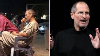صورة رجل يشبه مؤسس شركة آبل الأميركية ستيف جوبز
