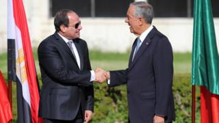 صورة للرئيسين المصري والبرتغالي