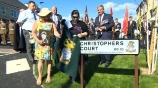 Christophers Court was unveiled by Pte Kershaw's sister, Sarah-Louise