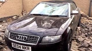 The damaged Audi