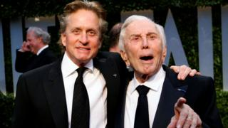 Michael and Kirk Douglas after the Oscars in 2009