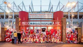Tributes outside the Riverside Stadium