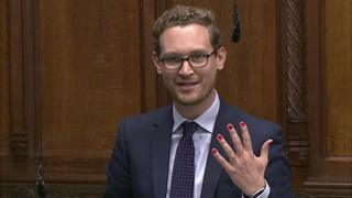 Darren Jones with painted nails in House of Commons
