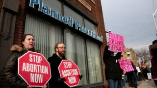 A protest outside a Planned Parenthood clinic