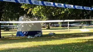 The scene where the body was found in Hyde Park