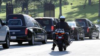 The joint funeral service of US actresses Carrie Fisher and Debbie Reynolds at Forest Lawn Cemetery in Los Angeles, California, 6 January 2017