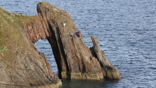 Teens on cliff