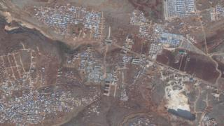 Satellite images from 2 December 2019 showing a camp for displaced people in northern Idlib province, Syria