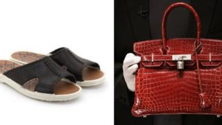 Composite image of Bata sandals and Birkin handbag