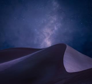 A view of sand dunes beneath a night sky